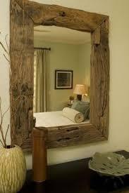 Rustic Bathroom Mirrors - chunky rustic reclaimed wooden mirror tea light shelf wall