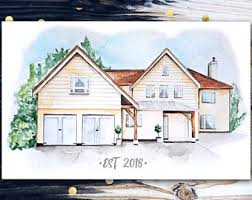 drawing home house drawing etsy