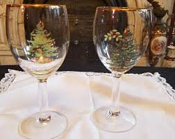 vintage tree wine glasses etsy