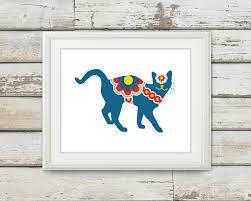swedish dala cat horse cats art decor swedish dala cat horse cats art decor wall home print single listing