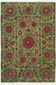 Rug Green Flowers On Green Authentic Fair Trade Tibetan Wool Rug