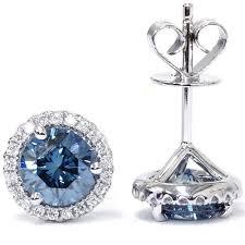blue diamond stud earrings 1 58ct blue diamond halo studs vs si eye clean earrings 18k