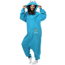 halloween cookie monster costume amazon com cookie monster onesie fleece cartoon sleepwear