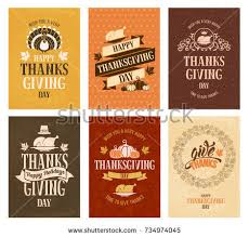 typography set thanksgiving day labels lettering stock vector