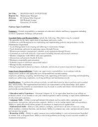 Building Maintenance Job Description Resume by Maintenance Foreman Resume Free Resume Example And Writing Download