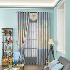 Yellow And Blue Curtains Blue Yellow Curtain Cloth Living Room Bedroom Modern Simple