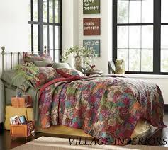 Moroccan Coverlet Queen Quilt Set Safia Jewel Tone Retro Boho Chic 100 Cotton Quilt