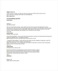 Banking Sample Resume by Banking Resume Samples 45 Free Word Pdf Documents Download
