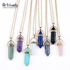 natural quartz necklace images Artilady gold color natural crystal stone pendant necklace fashion jpg