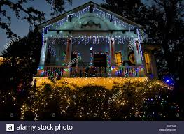 decorated house lit up at night on christmas french quarter new