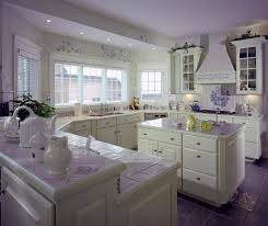white kitchen interior design decor ideas pictures this white kitchen enlivened smattering purple throughout tile flooring