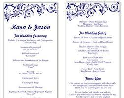 Downloadable Wedding Program Templates Blue Wedding Program Etsy