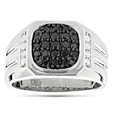 rings for men 14k gold white and black diamond ring for men 1 carat ring