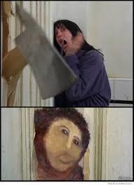Fresco Jesus Meme - jesus in the shining ecce homo restored pinterest painting
