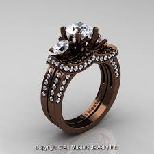 chocolate wedding rings exclusive 14k chocolate brown gold three white