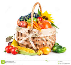 fruit and vegetable baskets autumnal harvest vegetables and fruits in basket stock photo