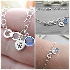 Infinity Bracelet With Initials Sterling U0026 Swarovski Grandma Bracelet Personalized With