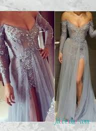 pd16063 grey color lace prom dress with long sleeves slit skirt