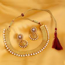 gold plated necklace sets images Sukkhi gold plated moti necklace set for women jpg