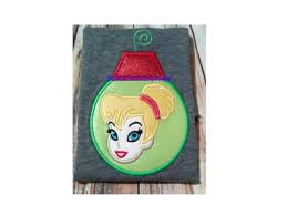 tinkerbell ornament machine embroidery applique instant