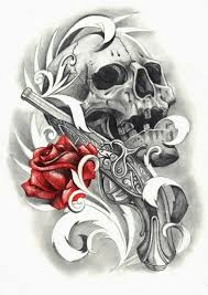 grey skull gun and red rose tattoo design in 2017 real photo