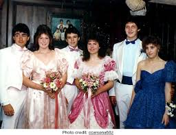prom dresses from the 80s puffed sleeves like totally 80s