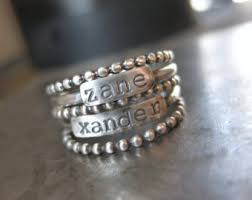 stacking name rings stackable rings sted with name and birthstone personalized