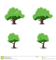 tree set flat vector illustration stock vector image