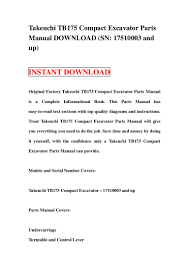takeuchi tb175 compact excavator parts manual download sn 17510003 a u2026