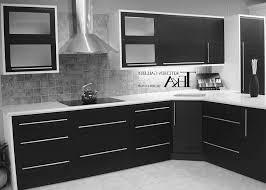 black and white backsplash granite kitchen grey walls countertops