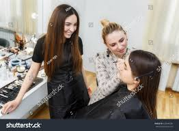 Professional Makeup Artist Schools Makeup Lesson Beauty Professional Makeup Stock Photo