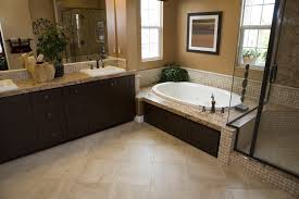 beige tile bathroom ideas spacious bathroom with a modern tub and tile floor minimalist