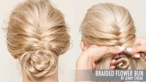 flower hair bun braided flower bun