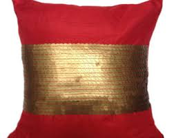 Red Decorative Pillow Red And Gold Pillow Etsy