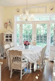 shabby chic dining set brown wallpaper white cotton tablecloth