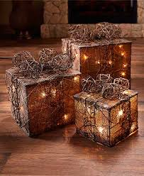 sets of 3 lighted gift box decor the lakeside collection
