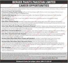 berger paints pakistan limited jobs berger paints pakistan