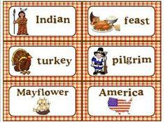 thanksgiving vocabulary printable words shopping list and
