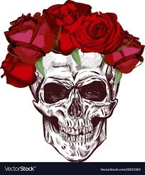 skull and roses sketch with gradation effect vector image