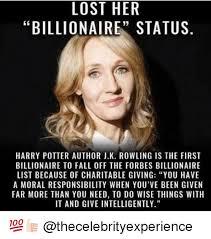 Author Meme - lost her billionaire status harry potter author jk rowling is the