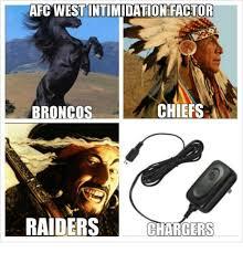 Chiefs Broncos Meme - afc west intimidation factor chiefs broncos raiders chargers meme