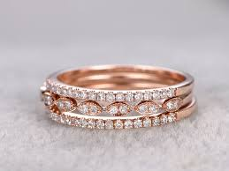Engagement Wedding Ring Sets by 3pcs Diamond Wedding Ring Sets Rose Gold Matching Band Thin Art