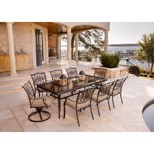 traditions 9 piece dining set in tan with extra large glass top home outdoor living outdoor dining sets traditions traditions 9 piece dining set in tan with extra large glass top dining table traddn9pcsw2g