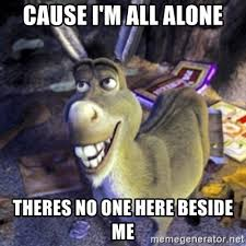 All Alone Meme - cause i m all alone theres no one here beside me donkey shrek