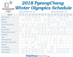 printable winter olympic schedule 2018 pyeongchang
