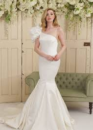 fishtail wedding dress one shoulder satin fishtail wedding dress