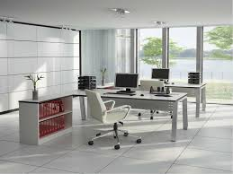 exotic home office wall decor ideas with square white wall and two