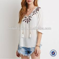 linen blouses indian clothing wholesale embroidered blouse for middle aged