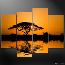 African Themed Home Decor by Framed 4 Panel Large African Wall Art Decor Modern Sunset Oil