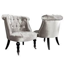 Esszimmerstuhl Grau Stoff Stylischer Design Sessel Josephine Leinen Silber Grau Stoff